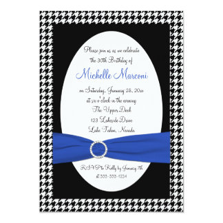 Black White Blue Houndstooth 30th Birthday Invite