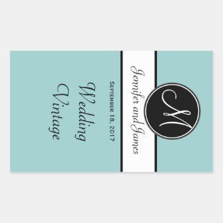 Black White Blue Monogram Wedding Wine Label Rectangular Sticker