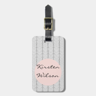 Black & White & Blush Retro Pattern Luggage Tag