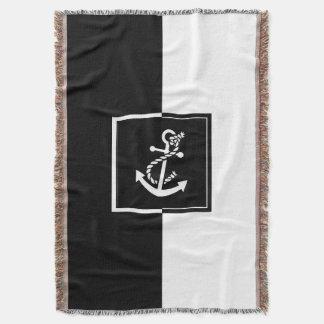 Black & White Boat Anchor Geometric Design Throw Blanket