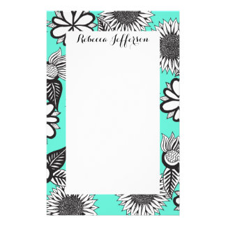 Black White Bohemian Hand Drawn Flowers on Teal Custom Stationery