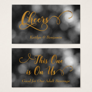 Black & White Bokeh, Gold Typography Drink Tickets