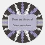 Black White Bookplates-Purple Snowflake Round Stickers