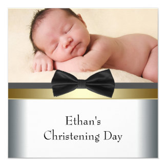 Black White Bow Tie Baby Boy Photo Christening 13 Cm X 13 Cm Square Invitation Card