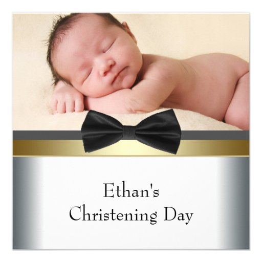 Black White Bow Tie Baby Boy Photo Christening Personalized Announcement