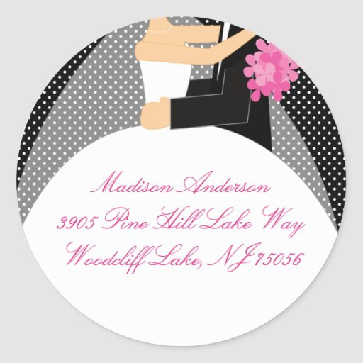 Black & White Bride & Groom Address Label Sticker