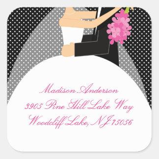 Black White Bride Groom Address Square Sticker