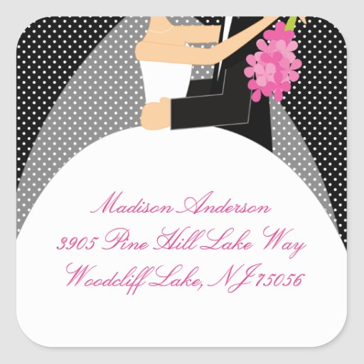 Black & White Bride & Groom Address Square Sticker
