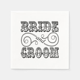 Black & White Bride & Groom Design Disposable Napkin