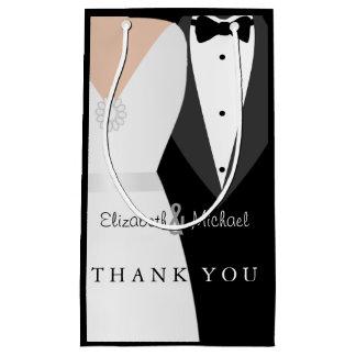 Black White Bride Groom Thank You Gift Bag