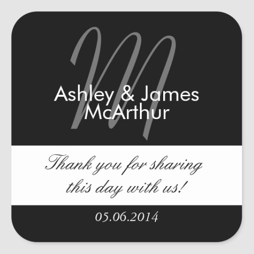 Black White Bride Groom Thank You Wedding Favor Square Stickers