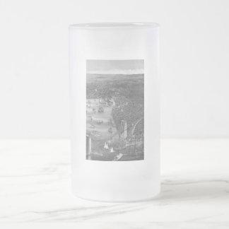 Black & White Brooklyn Map Frosted Glass Mug