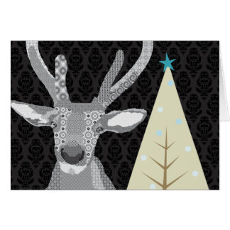 Black & White Buddy (Elk) Christmas  Greeting Greeting Card