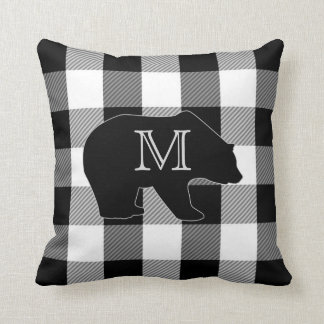 Black White Buffalo Check | Bear Monogrammed Cushion