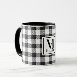 Black And White Buffalo Plaid Coffee Travel Mugs Zazzle Au