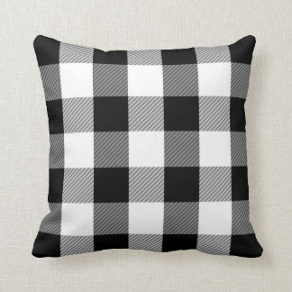 Black White Buffalo Check | Simple Plaid Pattern Cushion
