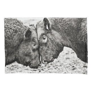Black & White Bulls butting heads pillow case