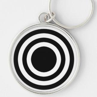 black white bull's eye key chain