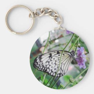 Black & White Butterfly & Flower Key Chain