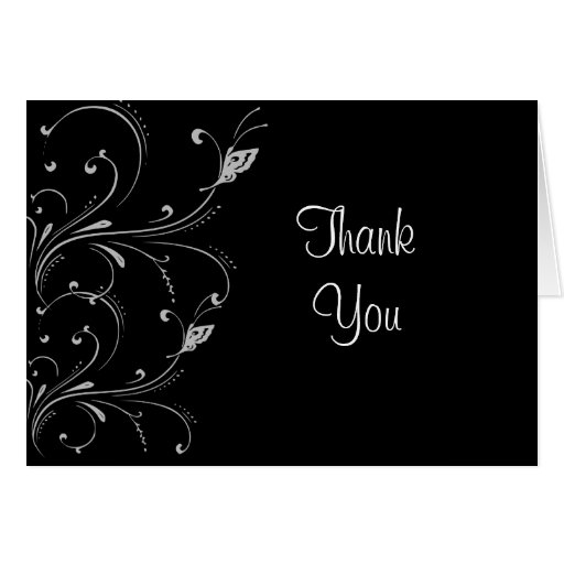 Black & White Butterfly Scroll Thank You Card