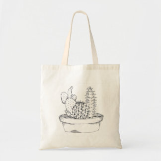 Black & White Cactus Tote Bag