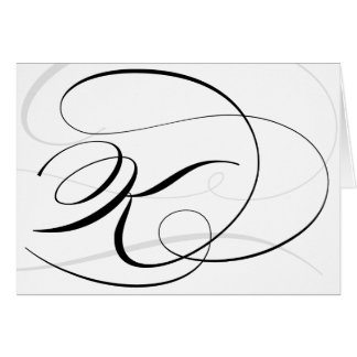 Black & White Calligraphy Initial K Monogram Cards