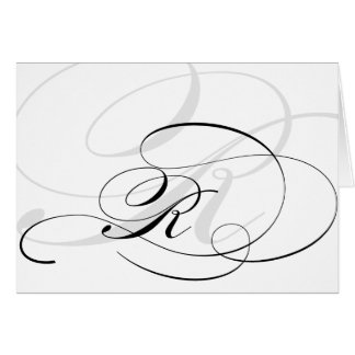 Black & White Calligraphy Initial R Monogram Cards