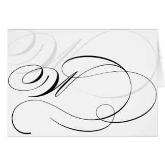 Black & White Calligraphy Initial W Monogram Cards