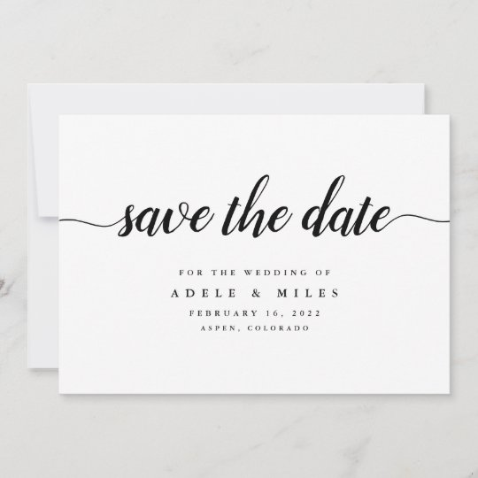 black  u0026 white calligraphy save the date card