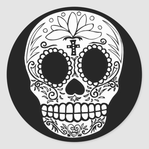 Black/White Candy Skull Classic Round Sticker