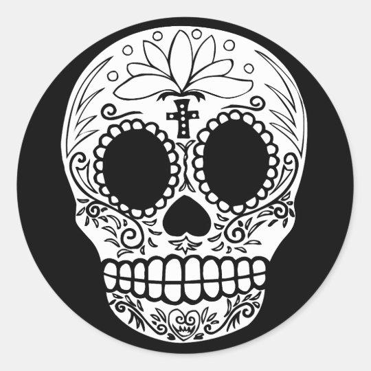 Black/White Candy Skull Round Sticker