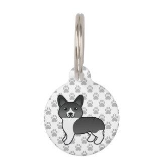 Black & White Cartoon Welsh Corgi Pembroke & Info Pet ID Tag