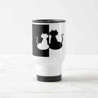 Black White Cat Contrast Silhouette Minimal Chic Travel Mug