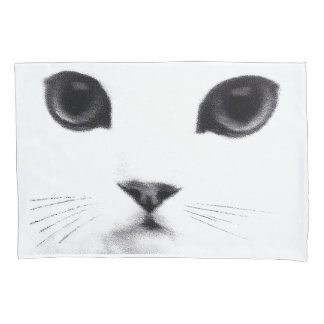 Black White Cat Face Pillowcase