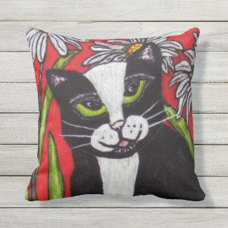 Black White Cat Green Eyes Bold Bright Daisies Cushion
