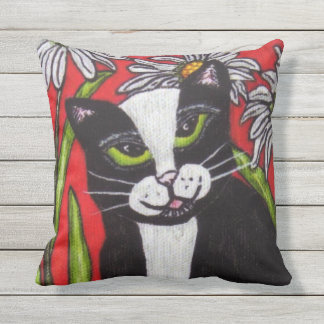 Black White Cat Green Eyes Bold Bright Daisies Outdoor Cushion