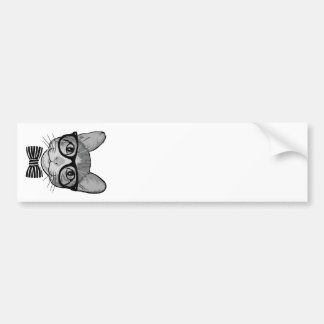 Black White Cat Hipster with Bow Tie Bumper Stickers