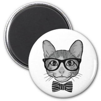 Black White Cat Hipster with Bow Tie Magnets