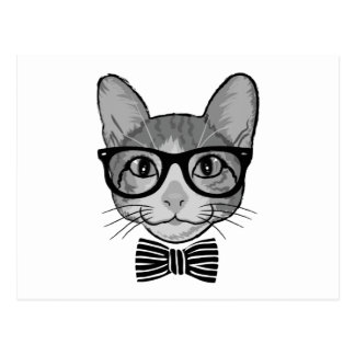 Black White Cat Hipster with Bow Tie Postcard