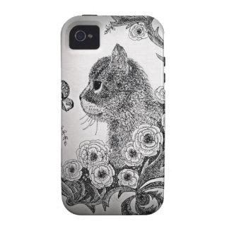 Black & White Cat iPhone 4 Case