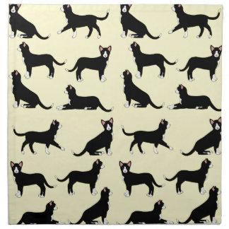 black white cat napkin