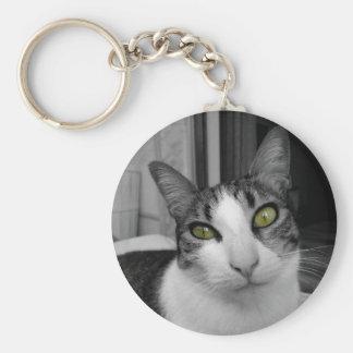 Black White Cat Photo Basic Round Button Key Ring