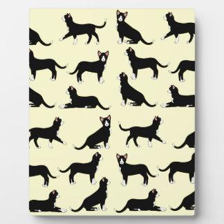 black white cat plaque