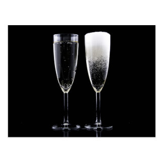 Black White Champagne Bottle Flute Glasses Festive Postcard