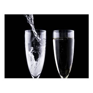 Black White Champagne Party Flute Glasses Festive Postcard
