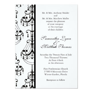 Black&White Chandelier Elegant Wedding Invitation