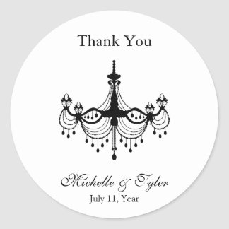 Black & White Chandelier Favour Stickers