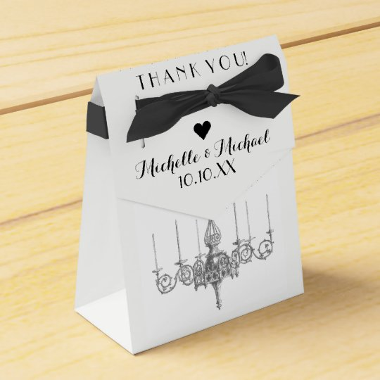 Black White Chandelier Names Date Wedding Favour Favour Box