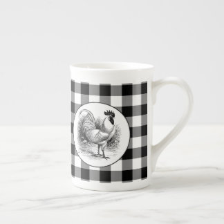 Black white check Country rooster china cup