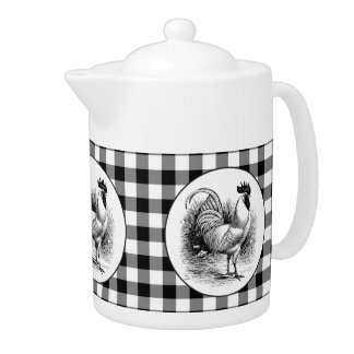 Black white check Country Rooster teapot